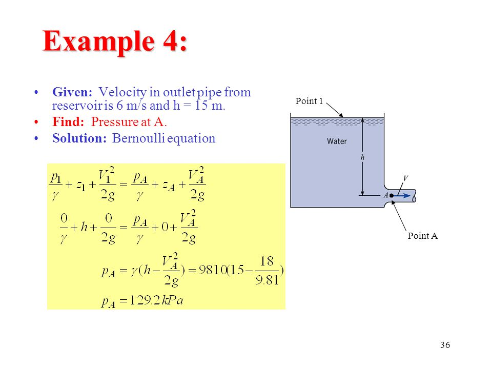 Example 4: Given: Velocity in outlet pipe from reservoir is 6 m/s and h = 15 m. Find: Pressure at A.