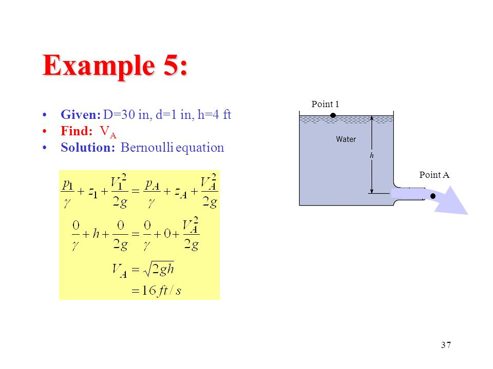 Example 5: Given: D=30 in, d=1 in, h=4 ft Find: VA