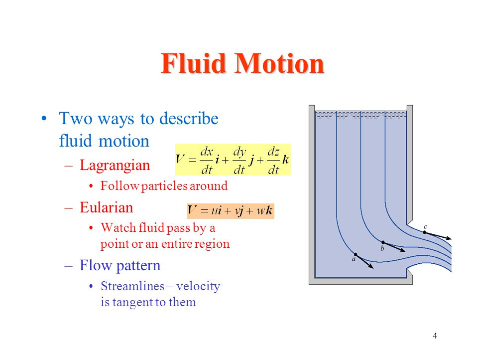 Fluid Motion Two ways to describe fluid motion Lagrangian Eularian