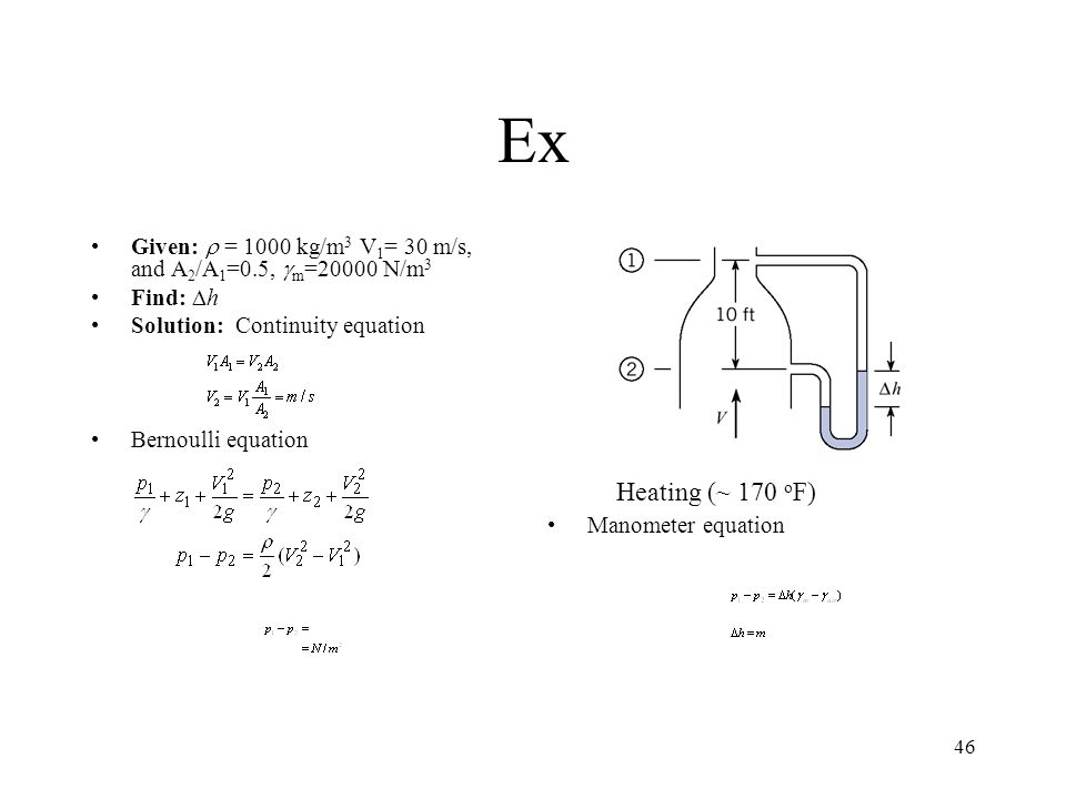 Ex Given: r = 1000 kg/m3 V1= 30 m/s, and A2/A1=0.5, gm=20000 N/m3. Find: Dh. Solution: Continuity equation.