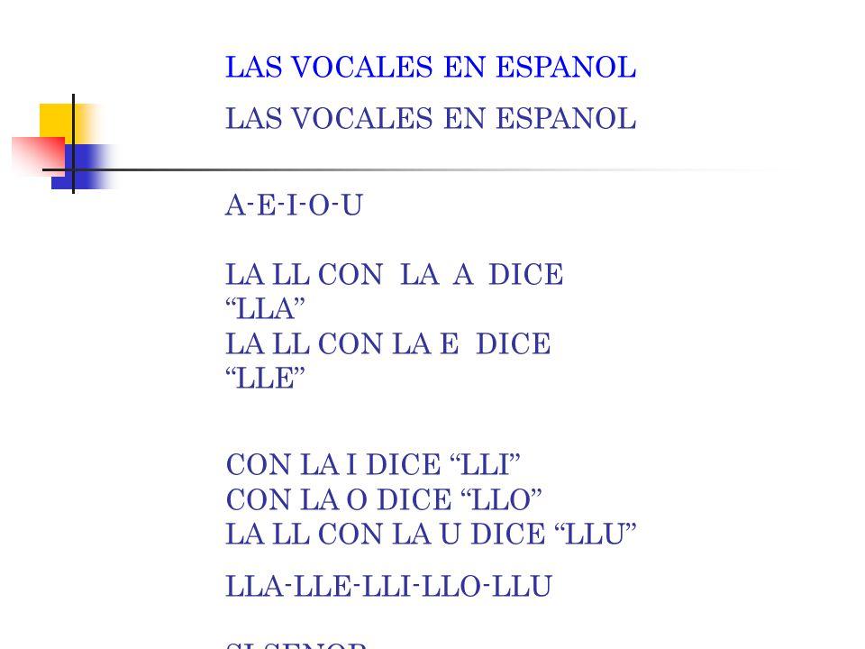 LAS VOCALES EN ESPANOL A-E-I-O-U LA LL CON LA A DICE LLA LA LL CON LA E DICE LLE