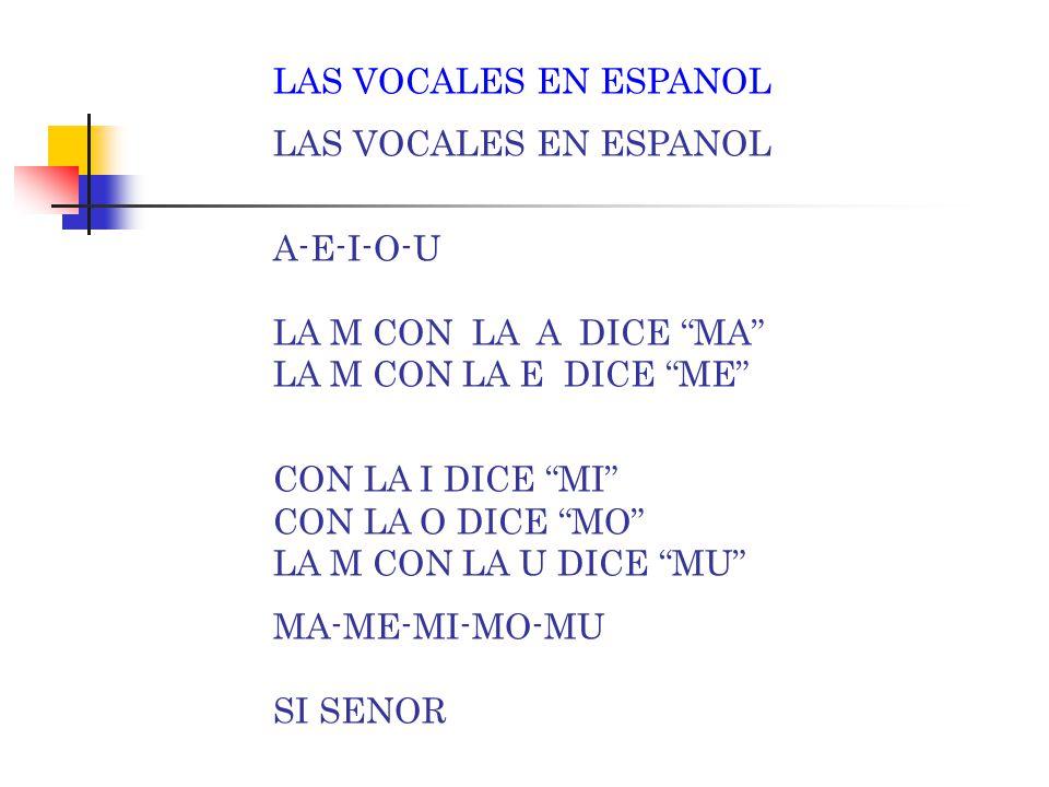 LAS VOCALES EN ESPANOL A-E-I-O-U LA M CON LA A DICE MA LA M CON LA E DICE ME CON LA I DICE MI CON LA O DICE MO LA M CON LA U DICE MU