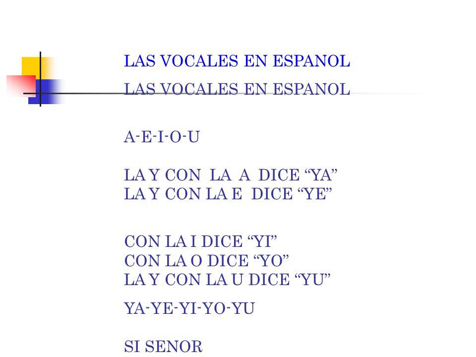 LAS VOCALES EN ESPANOL A-E-I-O-U LA Y CON LA A DICE YA LA Y CON LA E DICE YE CON LA I DICE YI CON LA O DICE YO LA Y CON LA U DICE YU