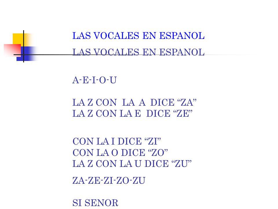 LAS VOCALES EN ESPANOL A-E-I-O-U LA Z CON LA A DICE ZA LA Z CON LA E DICE ZE CON LA I DICE ZI CON LA O DICE ZO LA Z CON LA U DICE ZU