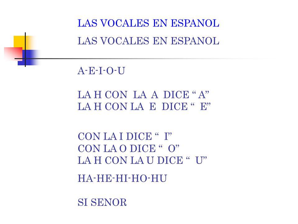 LAS VOCALES EN ESPANOL A-E-I-O-U LA H CON LA A DICE A LA H CON LA E DICE E