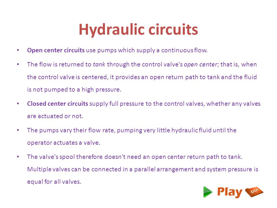 Hydraulic circuits Open center circuits use pumps which supply a continuous flow.