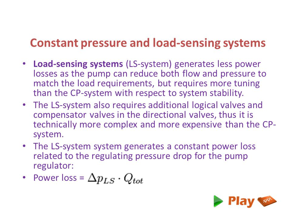 Constant pressure and load-sensing systems