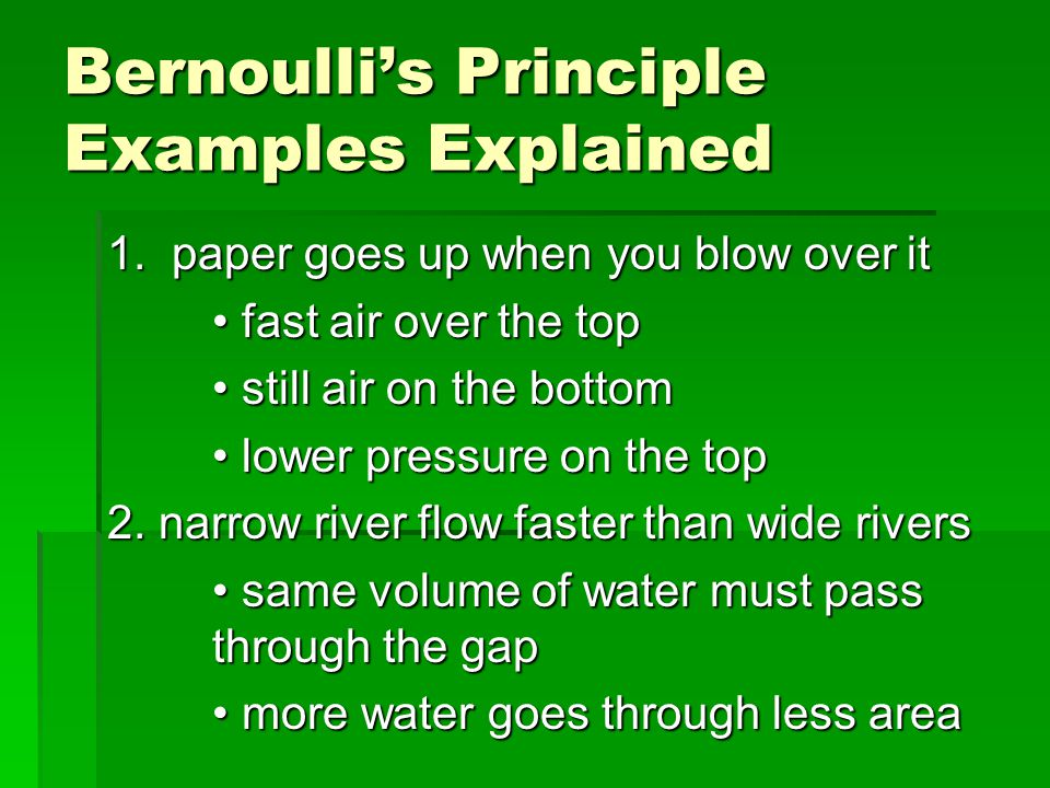 Bernoulli's Principle Examples Explained