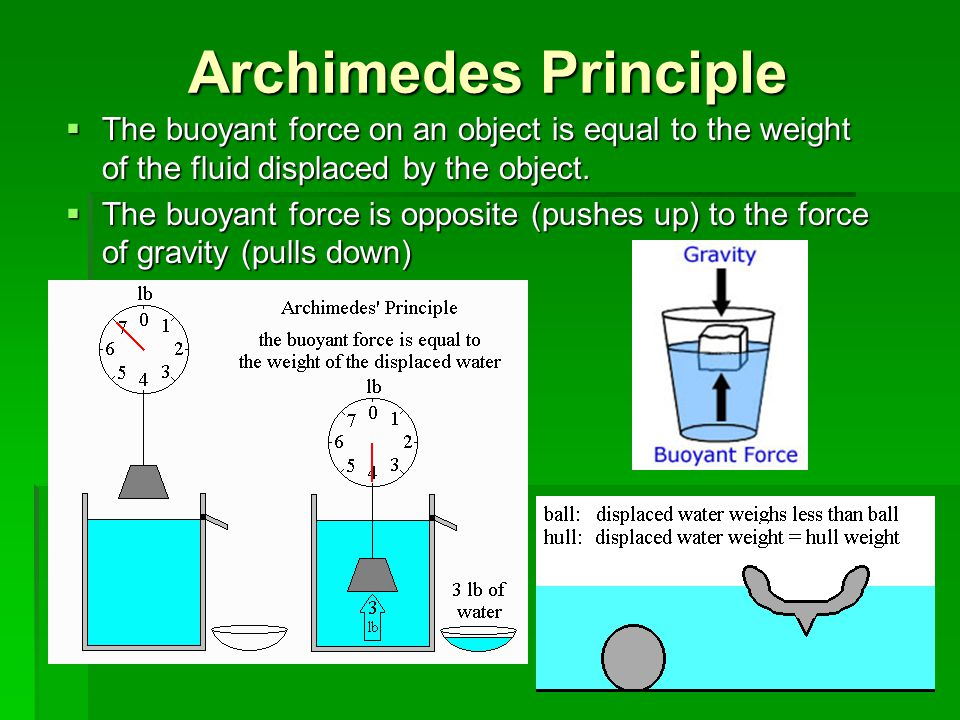 Archimedes Principle The buoyant force on an object is equal to the weight of the fluid displaced by the object.