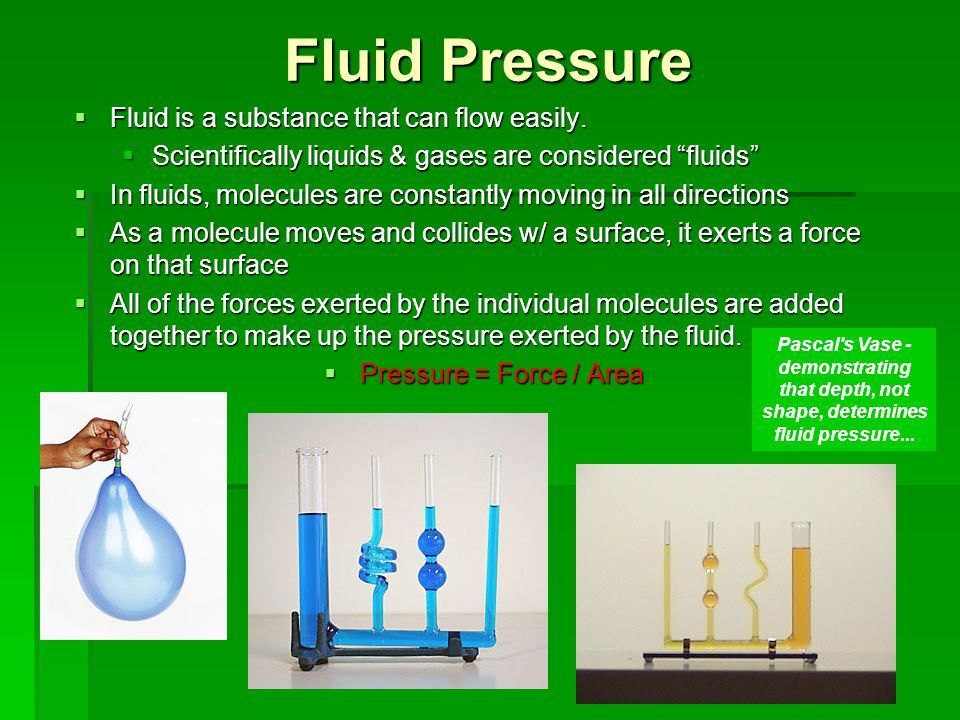 Fluid Pressure Fluid is a substance that can flow easily.