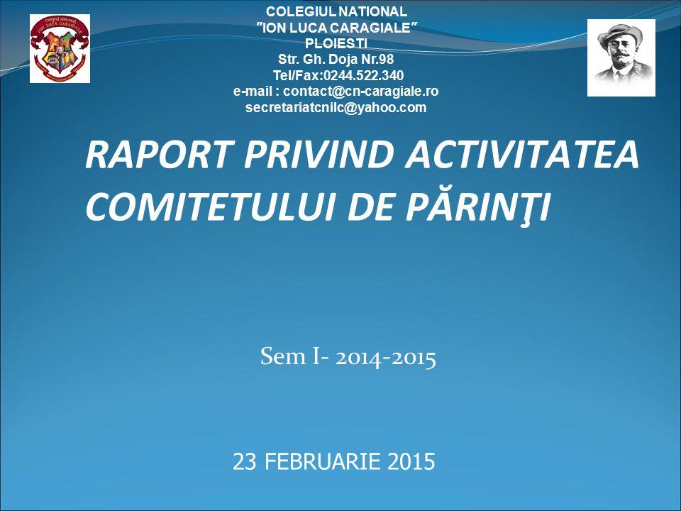 RAPORT PRIVIND ACTIVITATEA COMITETULUI DE PĂRINŢI