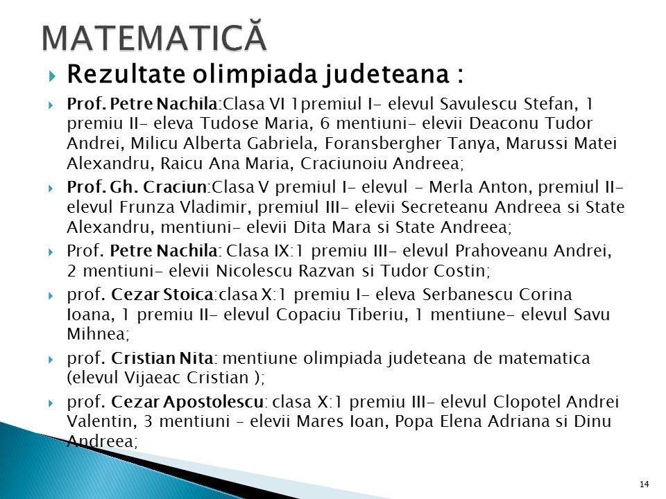 MATEMATICĂ Rezultate olimpiada judeteana :