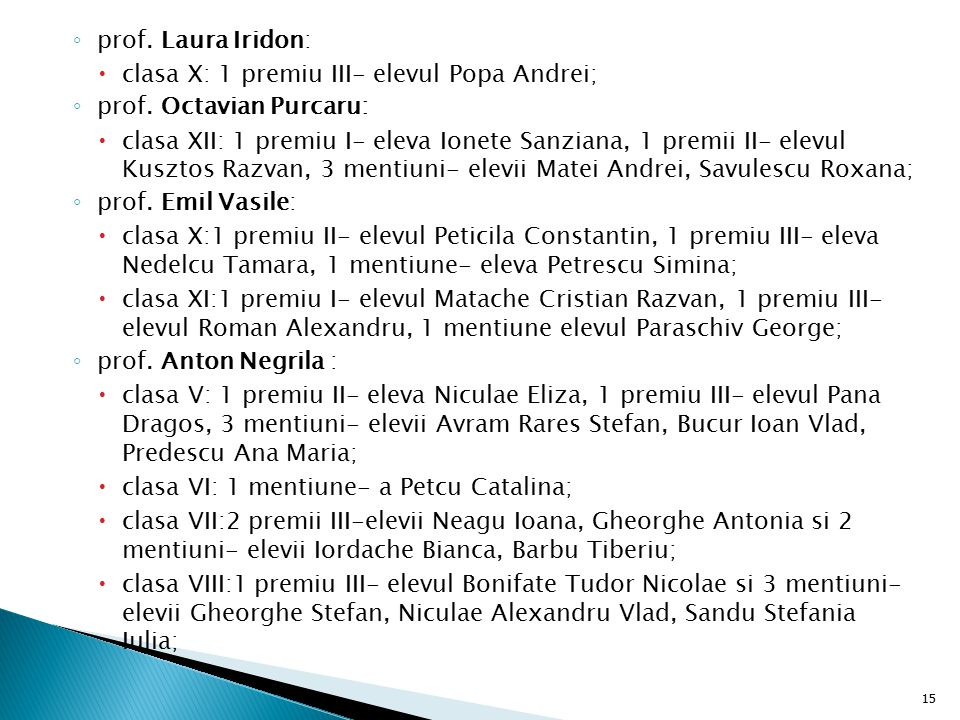 prof. Laura Iridon: clasa X: 1 premiu III- elevul Popa Andrei; prof. Octavian Purcaru: