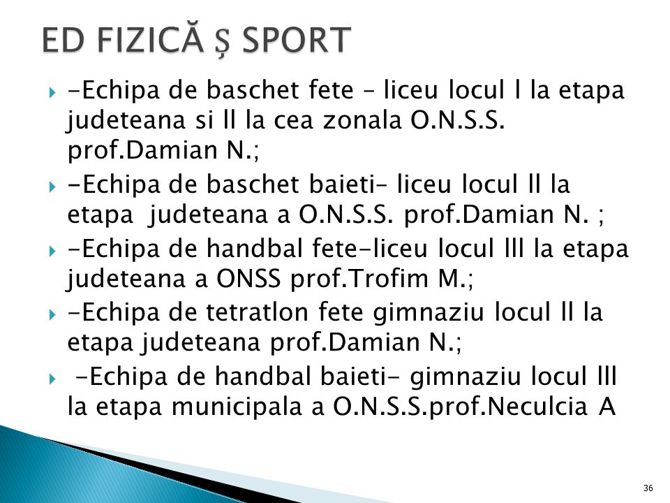 ED FIZICĂ Ș SPORT -Echipa de baschet fete – liceu locul l la etapa judeteana si ll la cea zonala O.N.S.S. prof.Damian N.;