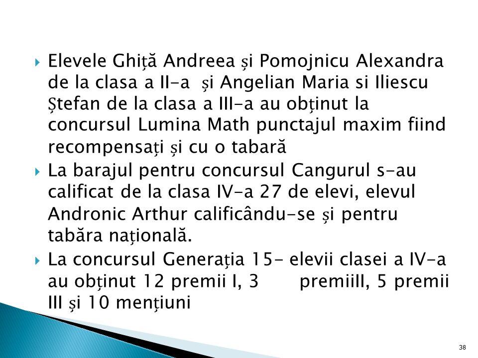 Elevele Ghiță Andreea și Pomojnicu Alexandra de la clasa a II-a și Angelian Maria si Iliescu Ștefan de la clasa a III-a au obținut la concursul Lumina Math punctajul maxim fiind recompensați și cu o tabară