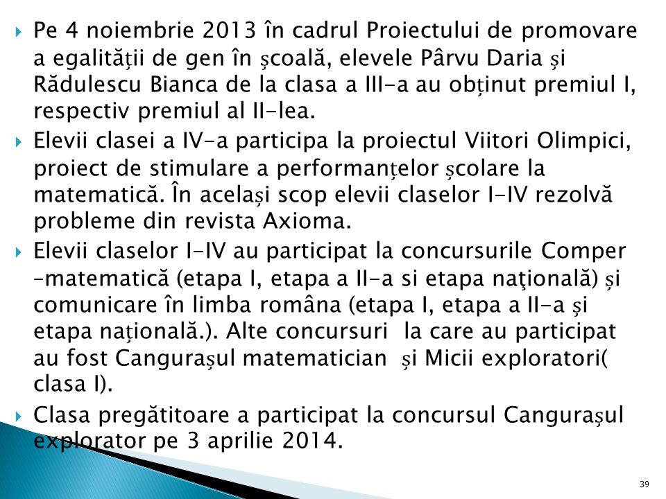 Pe 4 noiembrie 2013 în cadrul Proiectului de promovare a egalității de gen în școală, elevele Pârvu Daria și Rădulescu Bianca de la clasa a III-a au obținut premiul I, respectiv premiul al II-lea.