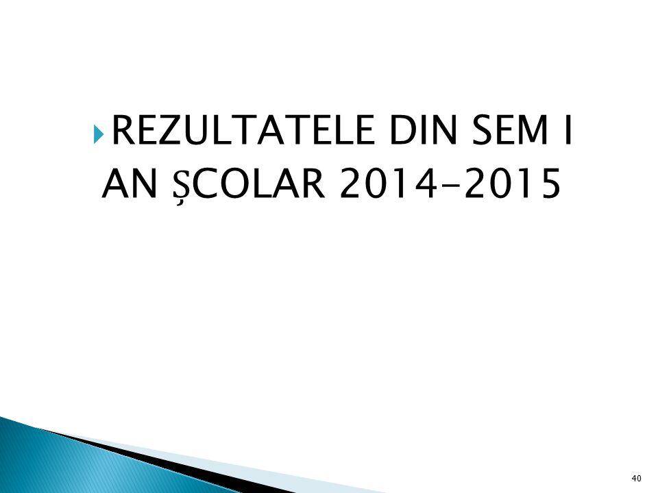 REZULTATELE DIN SEM I AN ȘCOLAR 2014-2015