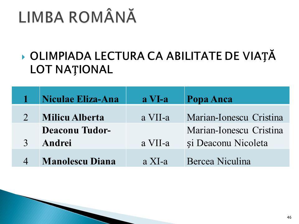 LIMBA ROMÂNĂ OLIMPIADA LECTURA CA ABILITATE DE VIAȚĂ LOT NAȚIONAL 1