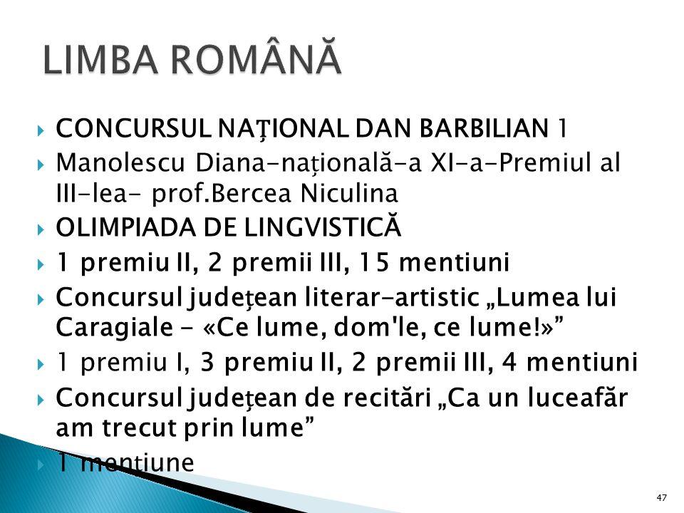 LIMBA ROMÂNĂ CONCURSUL NAȚIONAL DAN BARBILIAN 1