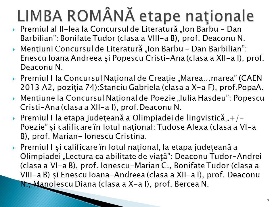 LIMBA ROMÂNĂ etape naţionale