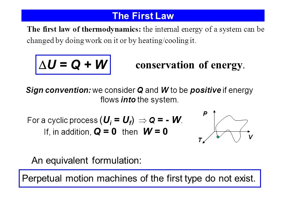 U = Q + W conservation of energy. The First Law