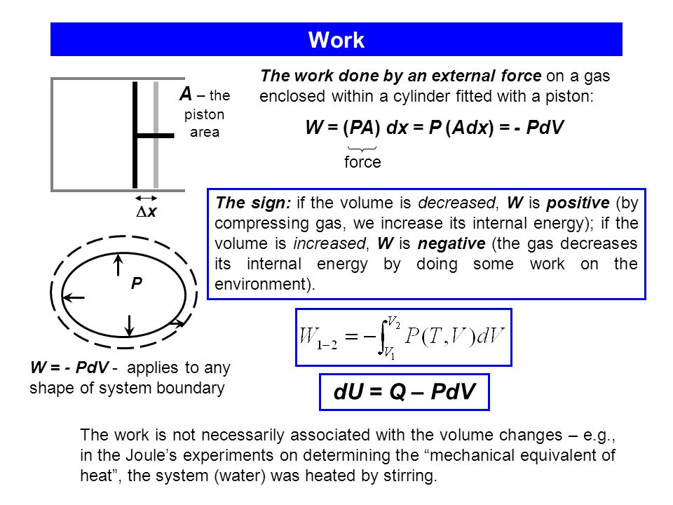 Work dU = Q – PdV A – the piston area W = (PA) dx = P (Adx) = - PdV