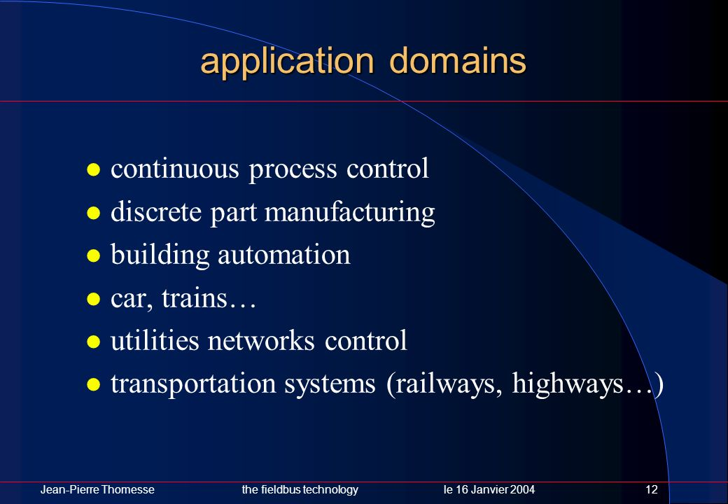 application domains continuous process control