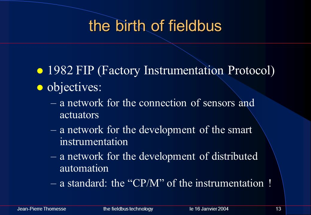 the birth of fieldbus 1982 FIP (Factory Instrumentation Protocol)