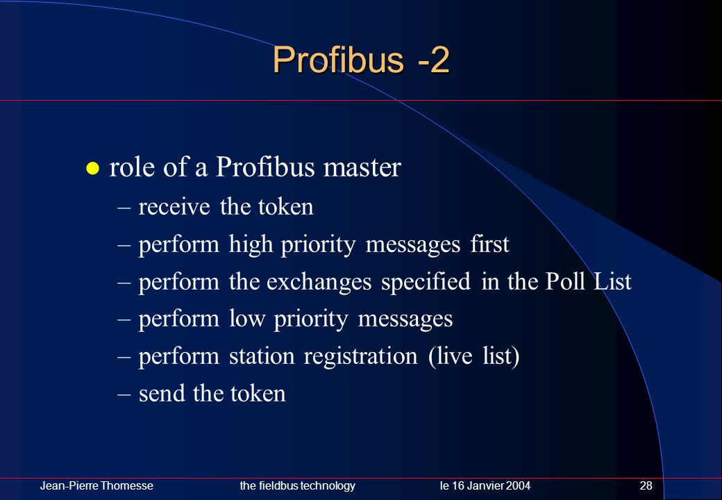 Profibus -2 role of a Profibus master receive the token