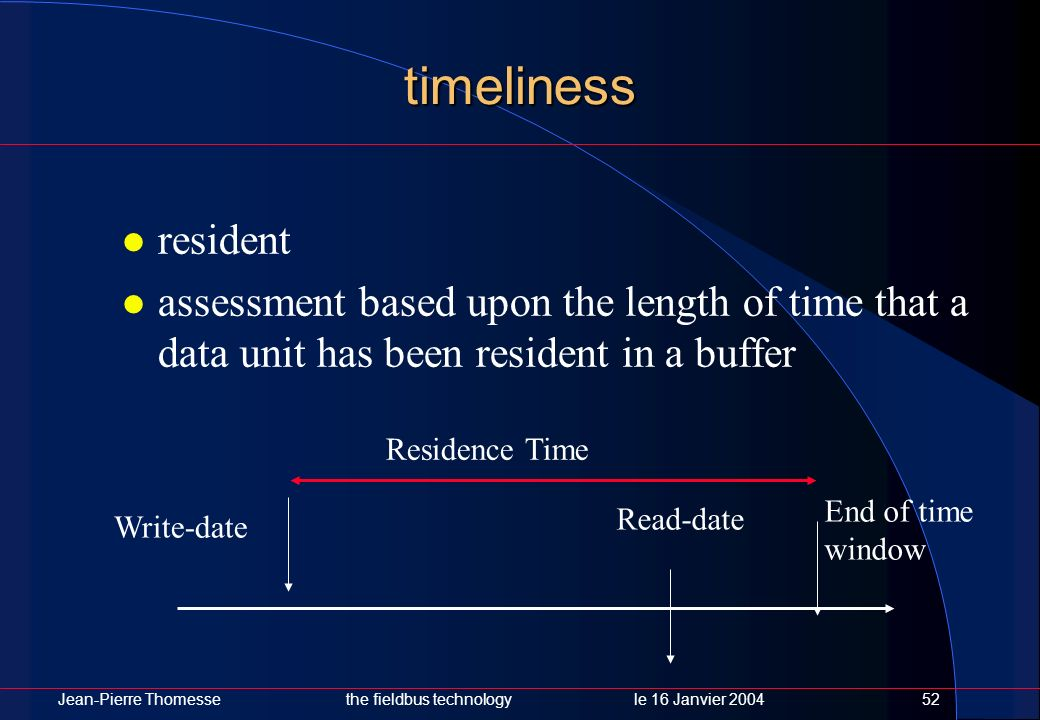 timeliness resident. assessment based upon the length of time that a data unit has been resident in a buffer.
