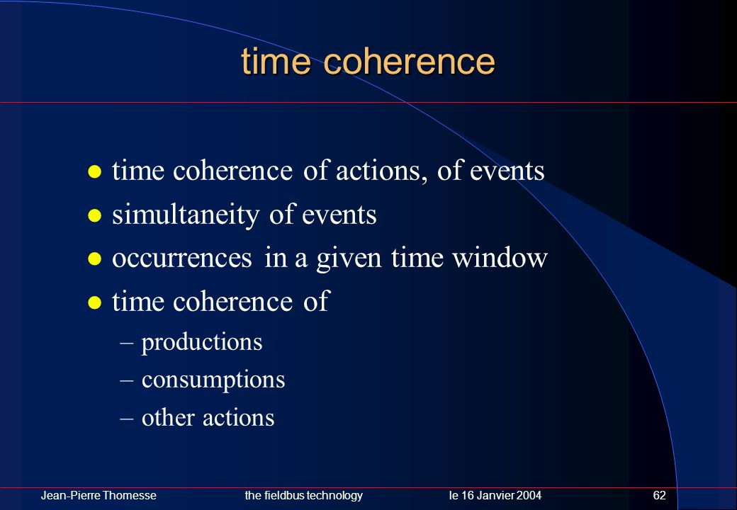 time coherence time coherence of actions, of events