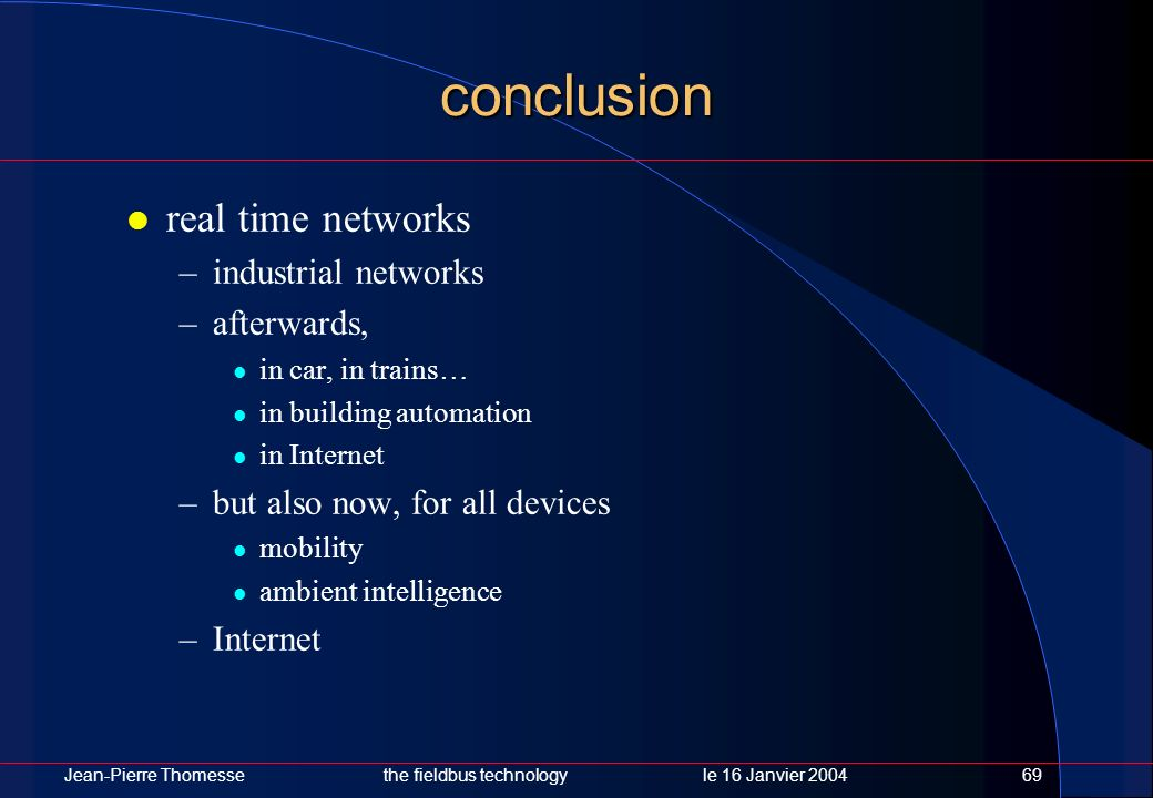 conclusion real time networks industrial networks afterwards,