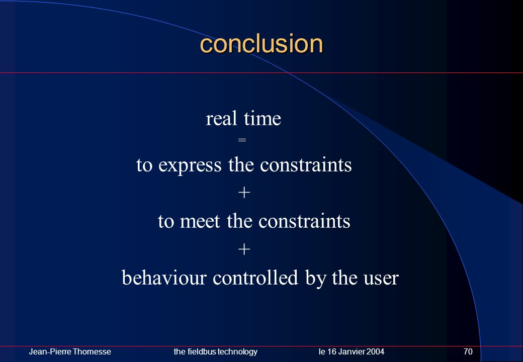 conclusion real time to express the constraints +