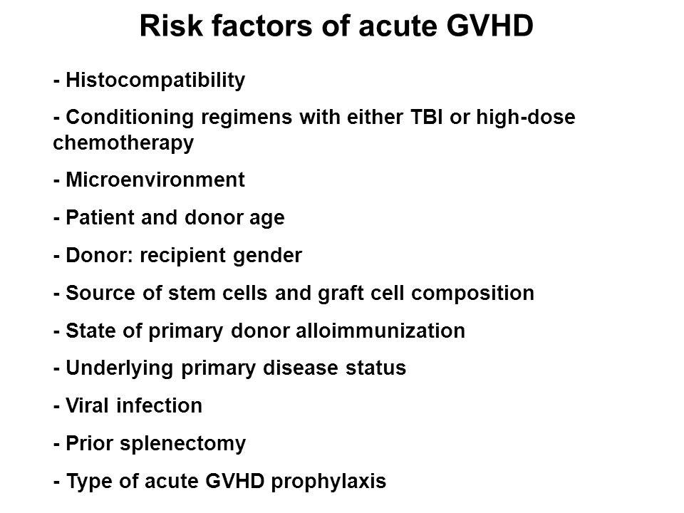 Risk factors of acute GVHD