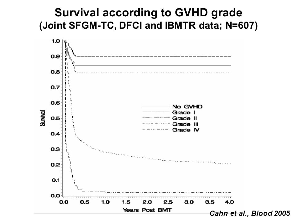 Survival according to GVHD grade
