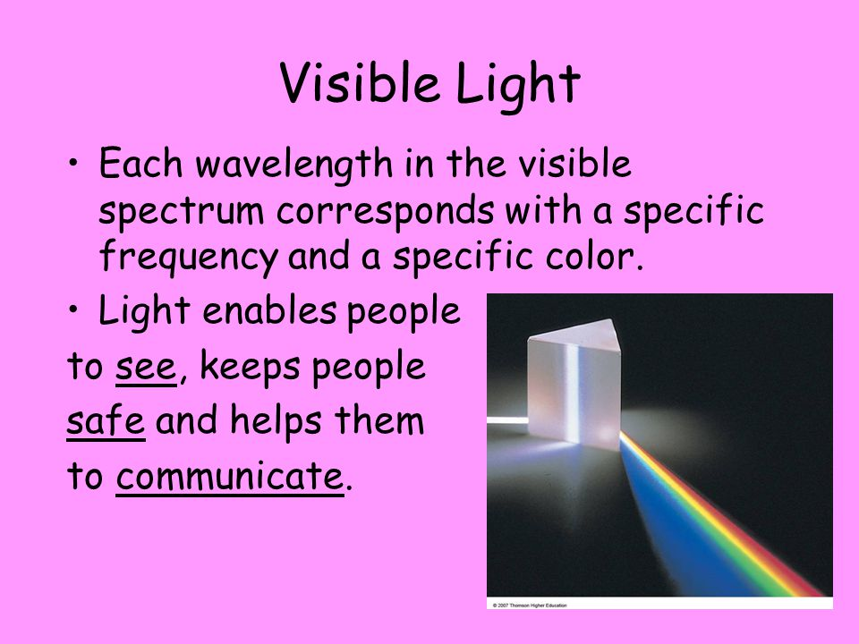 Visible Light Each wavelength in the visible spectrum corresponds with a specific frequency and a specific color.