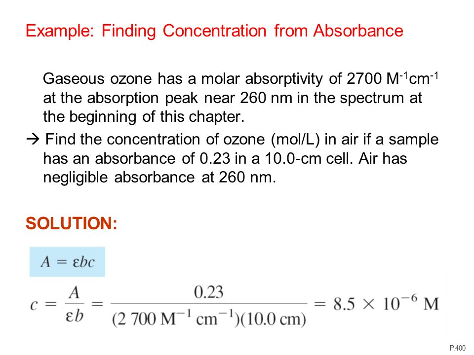How do you calculate concentration from absorbance?