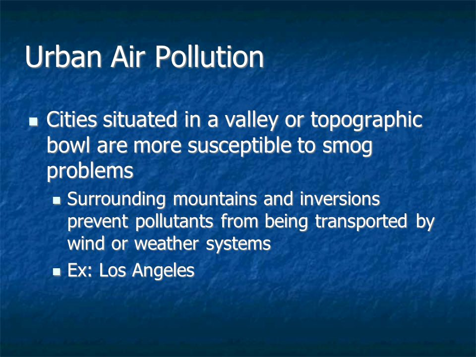pollution and urban problems City-wide environmental problems can include outdoor air pollution, poor waste management, and water pollution, including pollution in lakes, rivers, and along the coast extra-urban environmental .