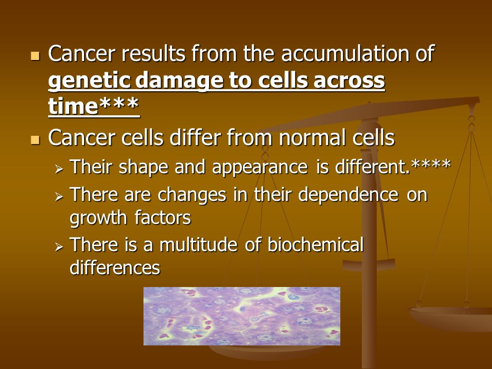 Cancer cells differ from normal cells