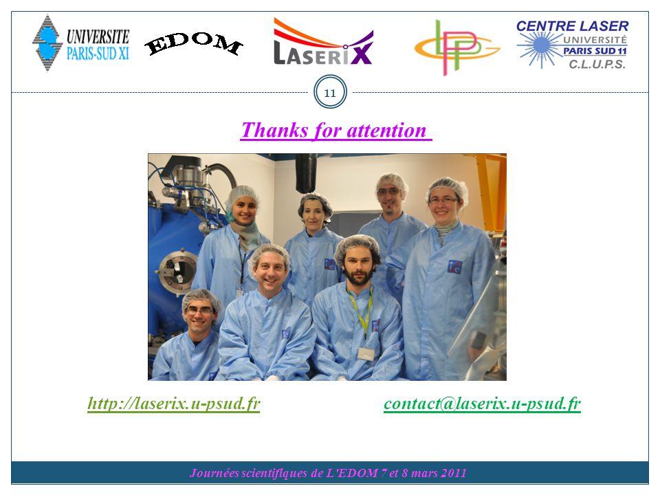 Journées scientifiques de L EDOM 7 et 8 mars 2011