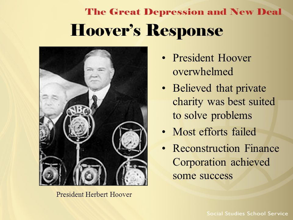 Herbert Hoover on the Great Depression and New Deal, 1931–1933