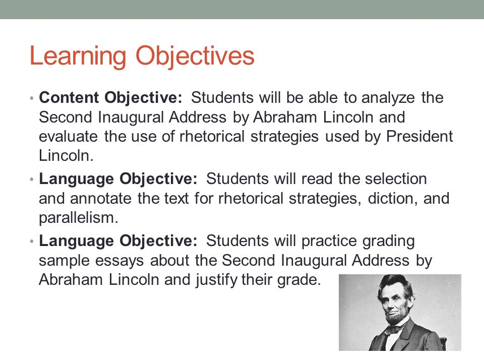 the use of ethos pathos and logos in the second inaugural address of president abraham lincoln The second inaugural address by abraham lincoln and evaluate the use of rhetorical strategies used by president lincoln  for ethos, pathos, and logos.