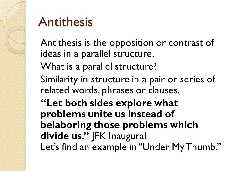 antithesis rhetorical devices Rhetorical devices adapted from the web site of james tomlinson alliteration repetition of the initial consonant sounds beginning several words in sequence.