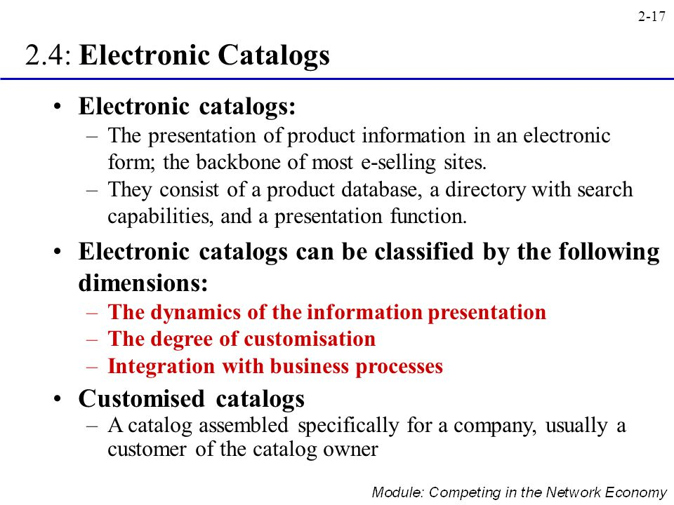 2.4: Electronic Catalogs Electronic catalogs: