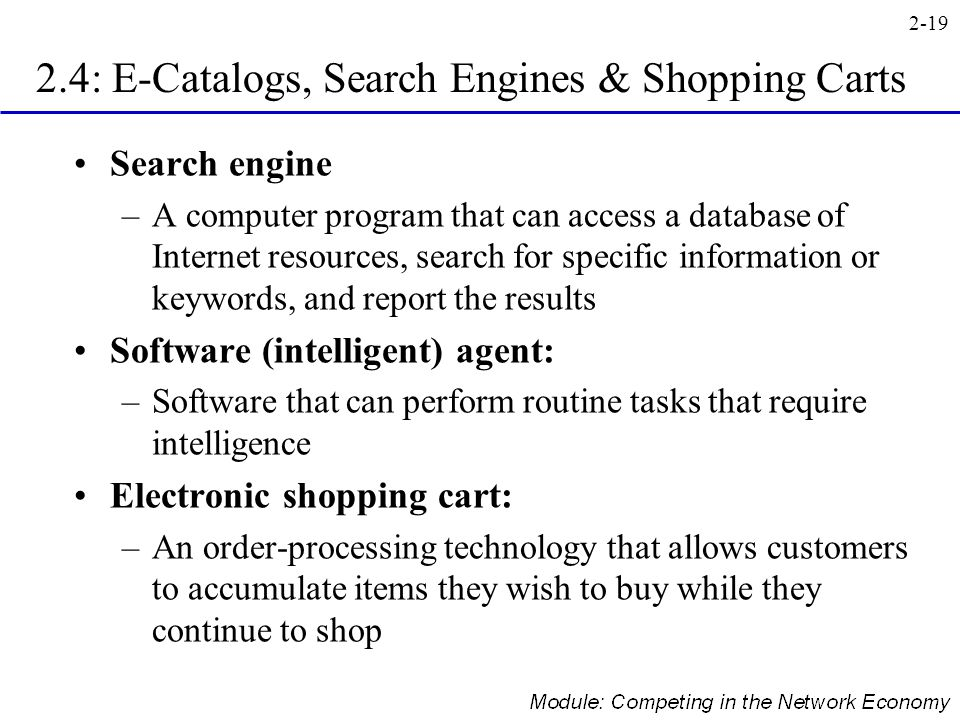 2.4: E-Catalogs, Search Engines & Shopping Carts
