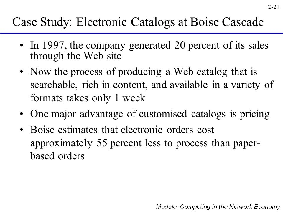 Case Study: Electronic Catalogs at Boise Cascade