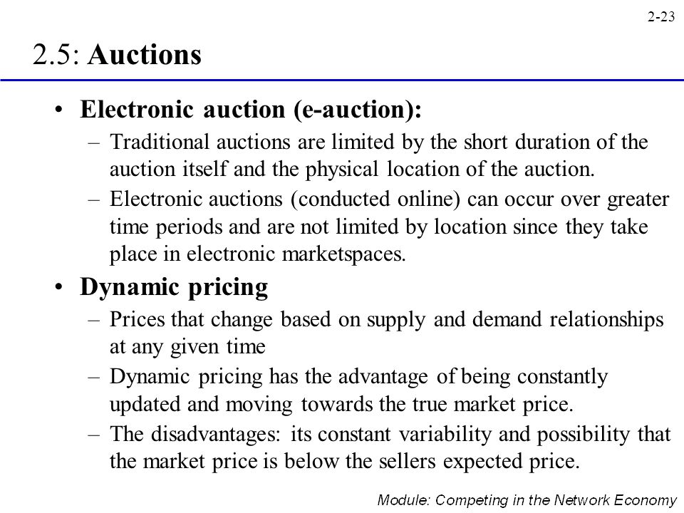 2.5: Auctions Electronic auction (e-auction): Dynamic pricing