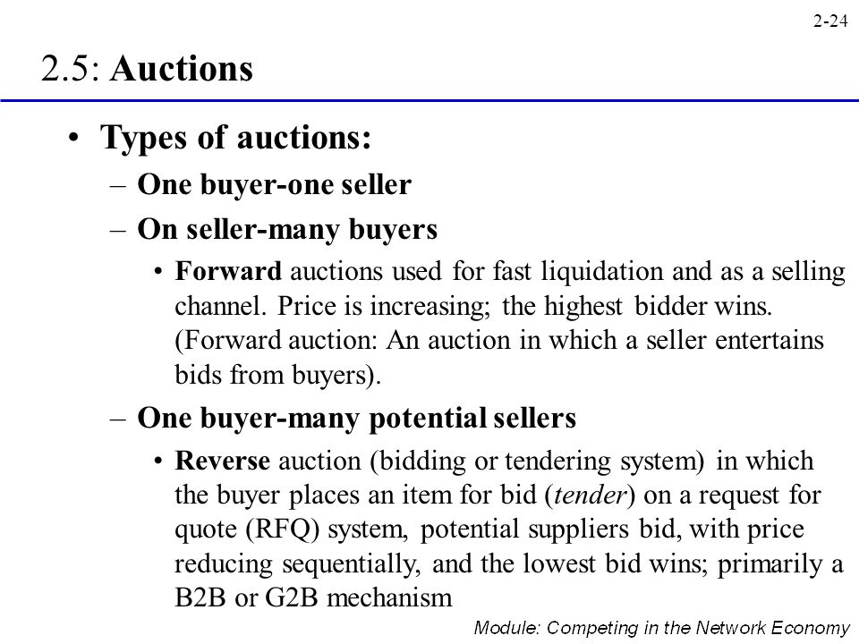 2.5: Auctions Types of auctions: One buyer-one seller