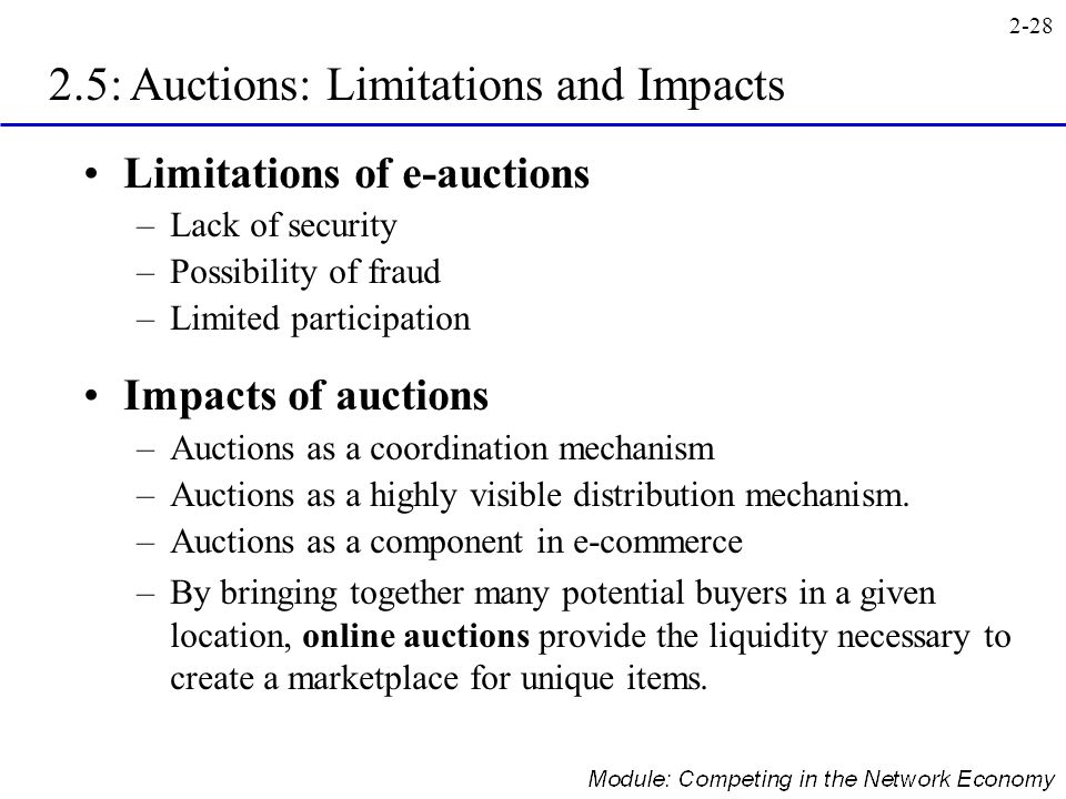 2.5: Auctions: Limitations and Impacts