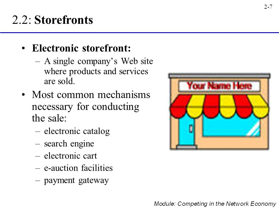2.2: Storefronts Electronic storefront: